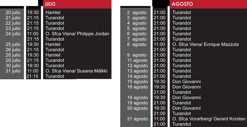 Calendario musical Bregenz 2016